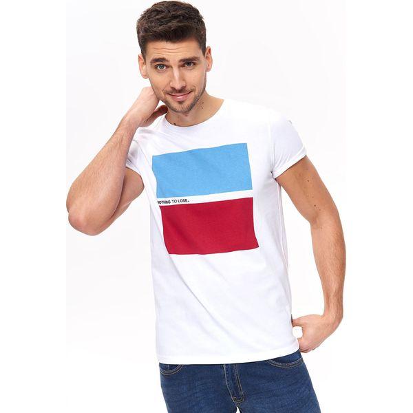 41168502d70c1c T-SHIRT Z NADRUKIEM - Białe t-shirty TOP SECRET, l, bez wzorów, z ...