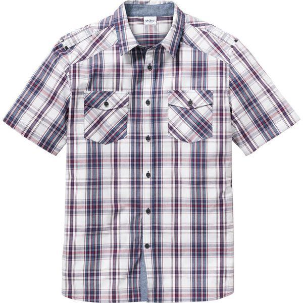 Koszula z krótkim rękawem Regular Fit bonprix biało indygo  tMMpf